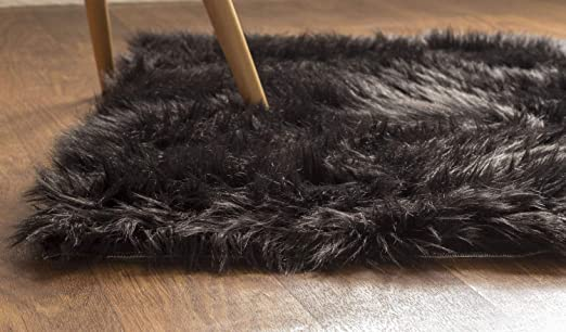 Super Area Rugs Soft Faux Fur Sheepskin Shag Silky Rug Baby Nursery  Childrens Room Rug Black, 2\' x 3\'