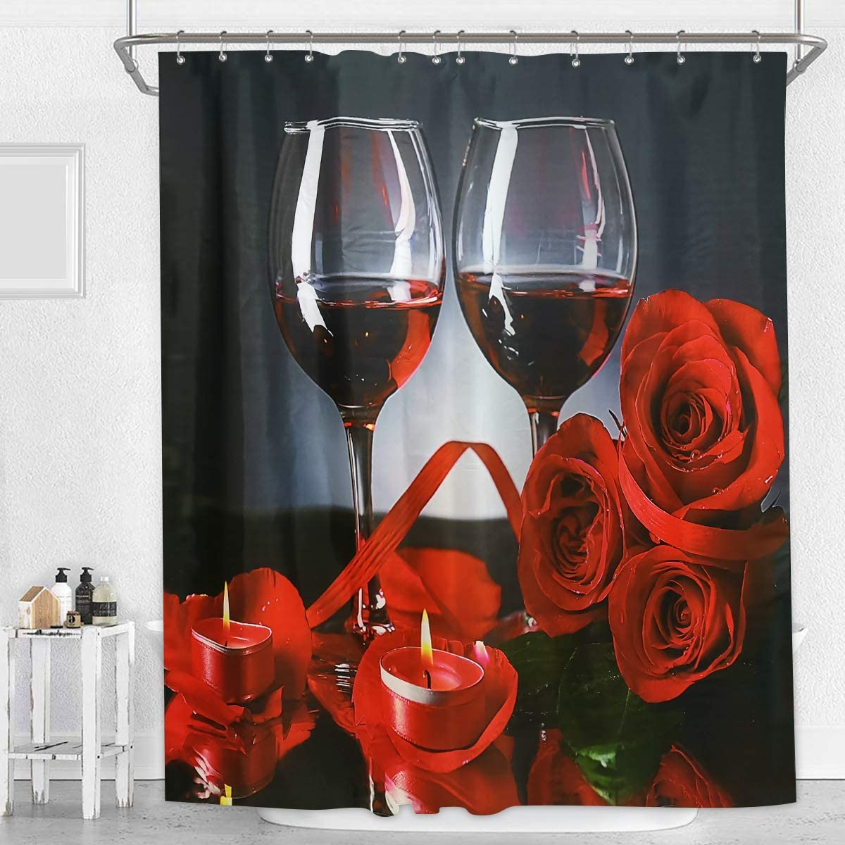 Flame Rose Blooming Bathroom Waterproof Fabric Shower Curtain Mat 12Hook Set 72/""