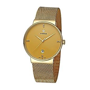 1113e16008c5 Amazon | WWOOR 腕時計 簡約 ラウンドスリム 薄型 ビジネス クォーツ時計 ...
