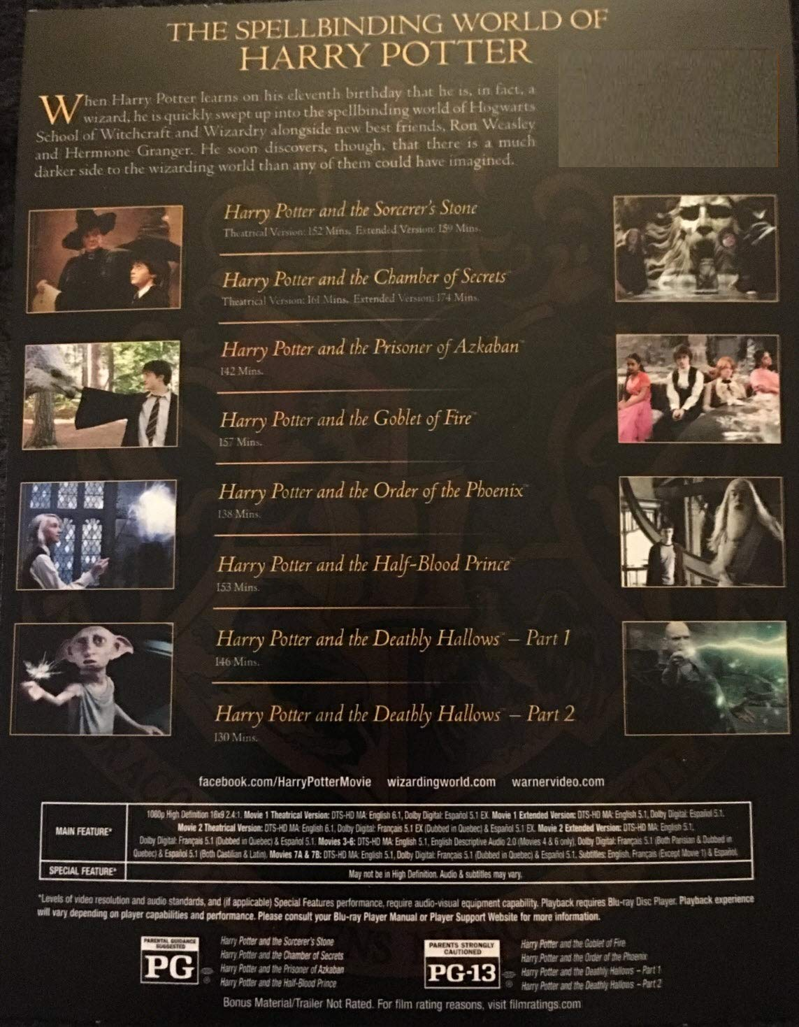 Amazon Harry Potter Complete 8 Film Collection With