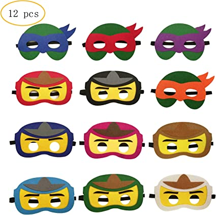 12PCS Ninja Ninjago Felt Masks for Kids Super hero Birthday Party Supplies
