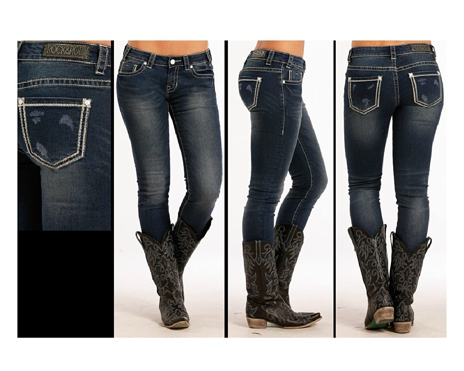 W0S8487 ROCK AND ROLL COWGIRL JUNIORS LOW RISE SKINNY STRETCH JEAN WITH EMBROIDERY