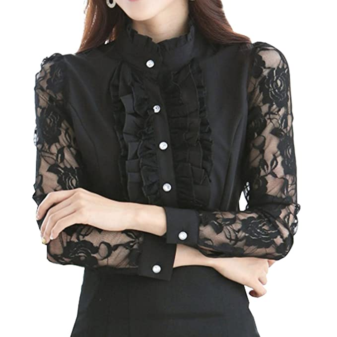 Edwardian Blouses | White & Black Lace Blouses & Sweaters Womens Ruffle Blouse Long Sleeve Lace Stand Collar Formal Dress Shirts Office Style $26.99 AT vintagedancer.com
