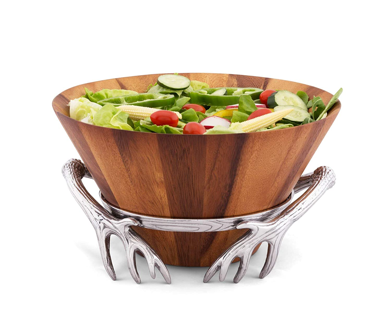 """Arthur Court 7"""" Tall Acacia Wood Salad Bowl with Antler Pattern Aluminum Stand"""