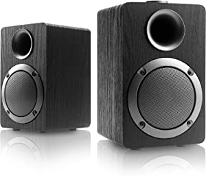 MICA USB-Powered Computer Speakers; PB20I with 2.0CH Surround Sound, Wooden Wired LED Volume Control Mini Speaker for Multiple Devices (3.5mm AUX & PC Input) Upgrade Version