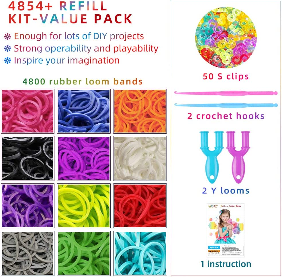 2 Hooks 12 Colors Mega Refill Kit Colorful Bracelet Making Set for Kids Weaving DIY Crafting 4854+ Rubber Loom Bands Rainbow Rubber Bands 2 Y Looms with 50 S Clips