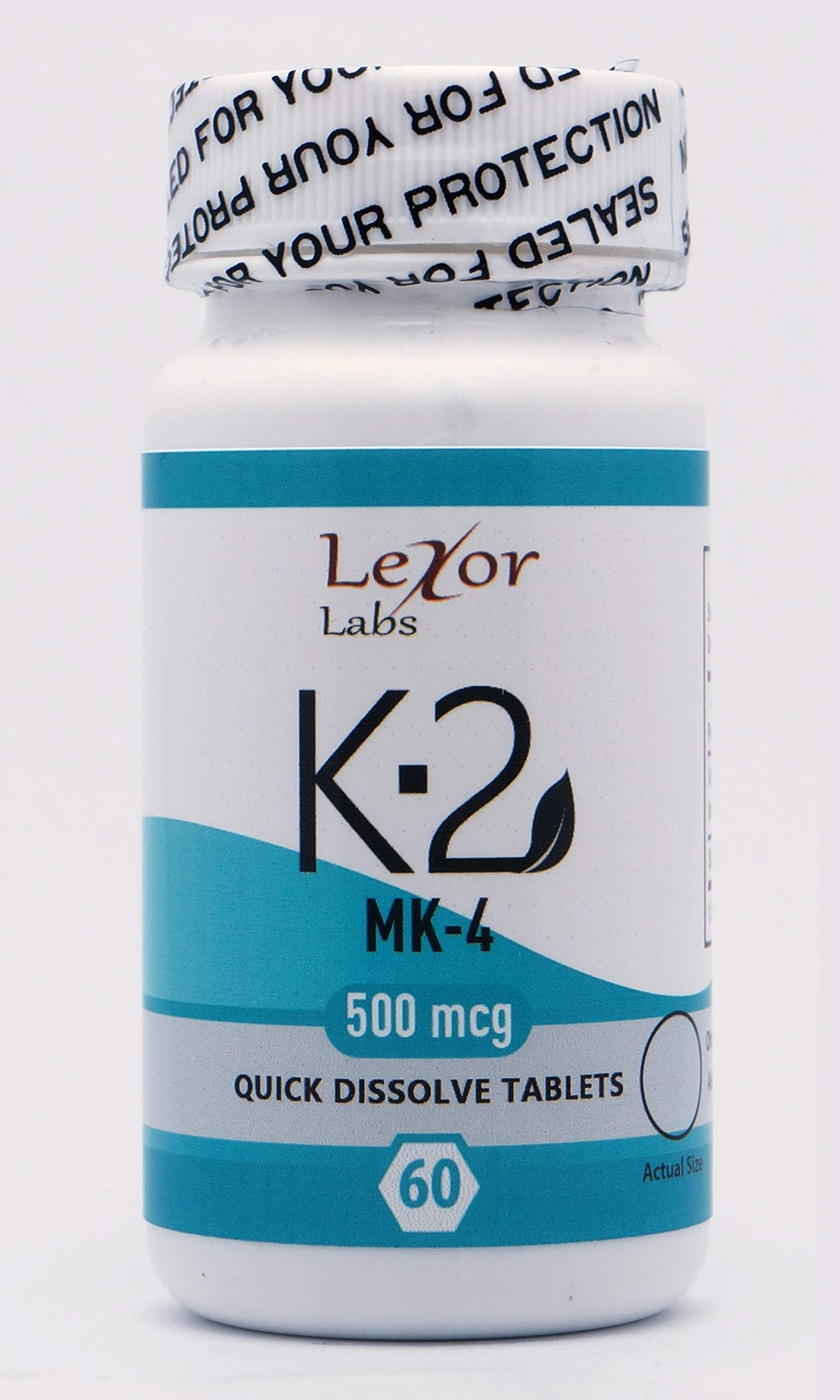 Lexor Labs Vitamin K-2 MK4 Supplements - Quick Dissolve Tablets for Healthy Arteries & Strong Bones, 500 Mcg, 60Count