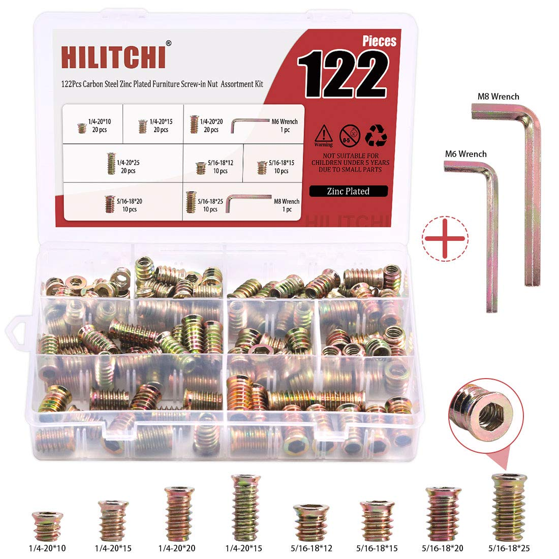 Hilitchi Threaded Inserts Nuts Zinc Plated Furniture Screw in Nut for Wood Furniture Bolt Fastener Connector Hex Socket Drive Assortment Kit with Bonus Hex Spanner (Assortment Kit-120PCS)