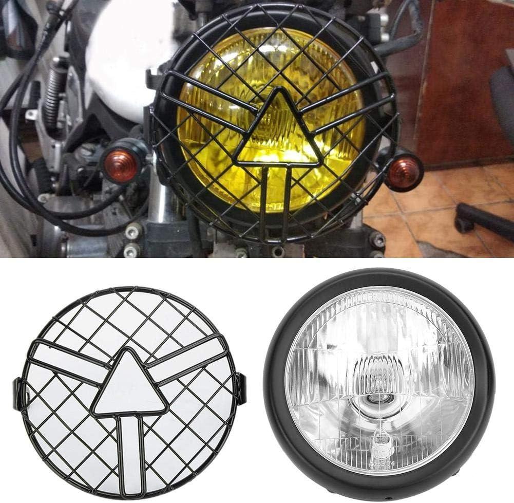 Phare avant de moto r/étro Grill universel avec support de couvercle de gril dabat-jour 5.75 pouces blanc Phare de moto