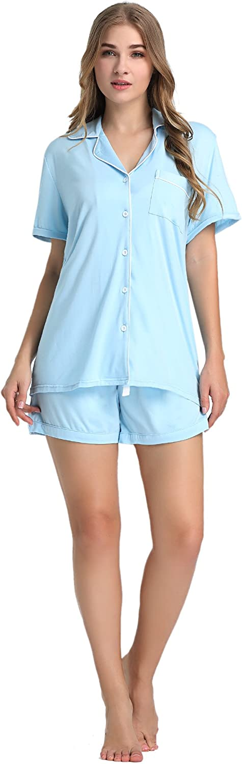 Joyaria Womens Soft Bamboo Pajama Button Down Short Sleeve Pj Set