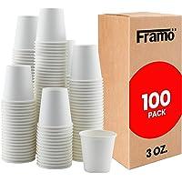 Framo - Vasos de papel desechables, color blanco de 85 ml, para baño, tazas, fiestas, café, uso en pared gruesa y…