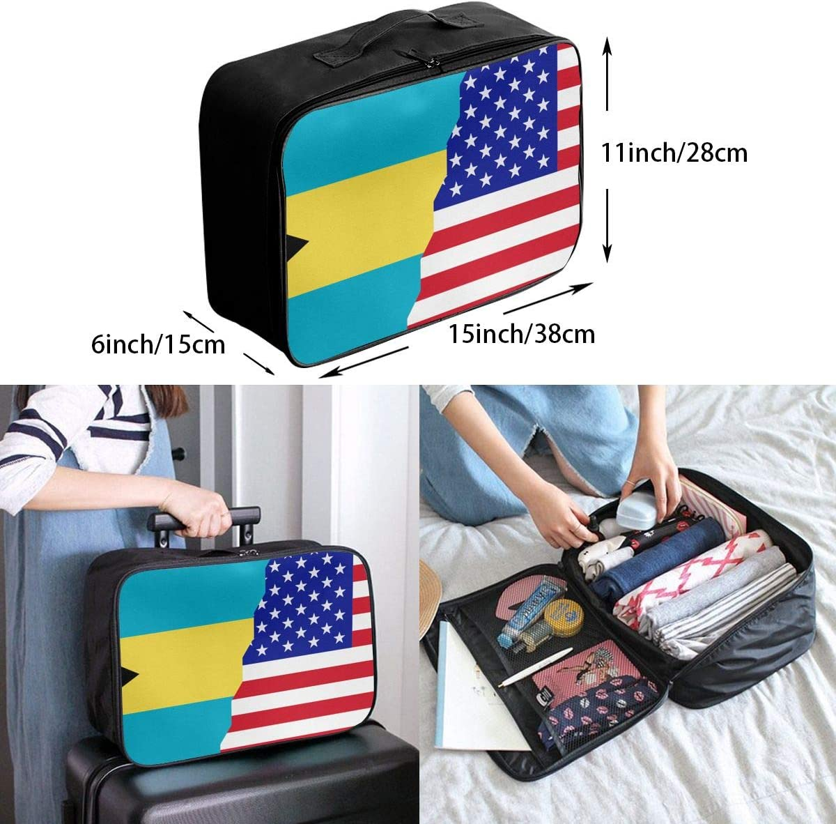 Bahamas American Flag Overnight Carry On Luggage Waterproof Fashion Travel Bag Lightweight Suitcases