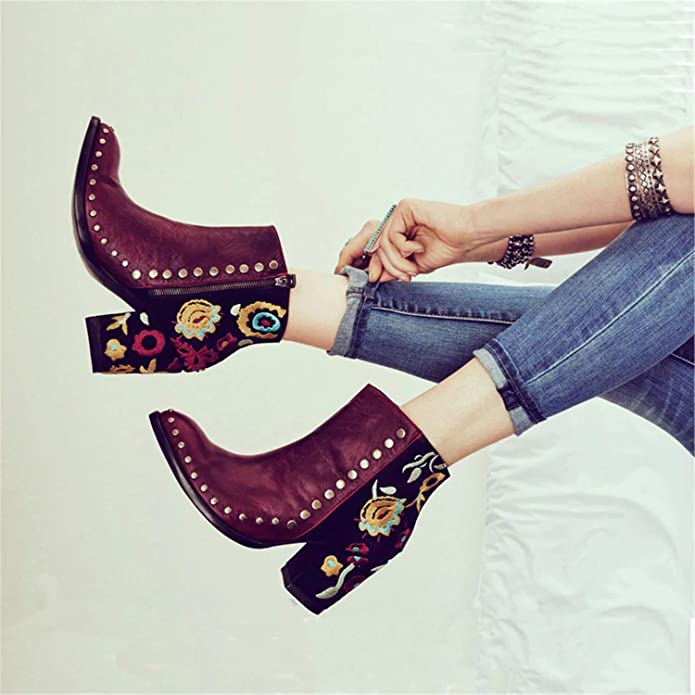 Amazon.com | Susan1999 Women Embroider High Ankle Shoes Boots Wine Red Flock Leather Plus Size Zipper Rivet Flower Shoes | Ankle & Bootie