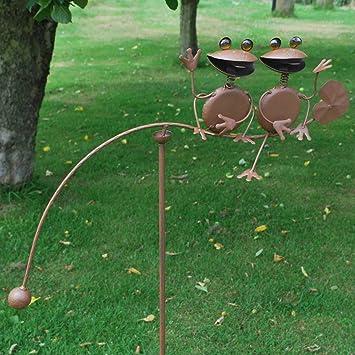 Great 50u0026quot; Frog Rocking Balancing Metal Garden Wind Rocker Spinner