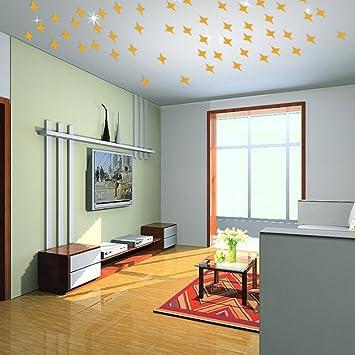 JoyFan 50pcs Spiegel Aufkleber Decke Star Spiegel Wohnzimmer 3D ...