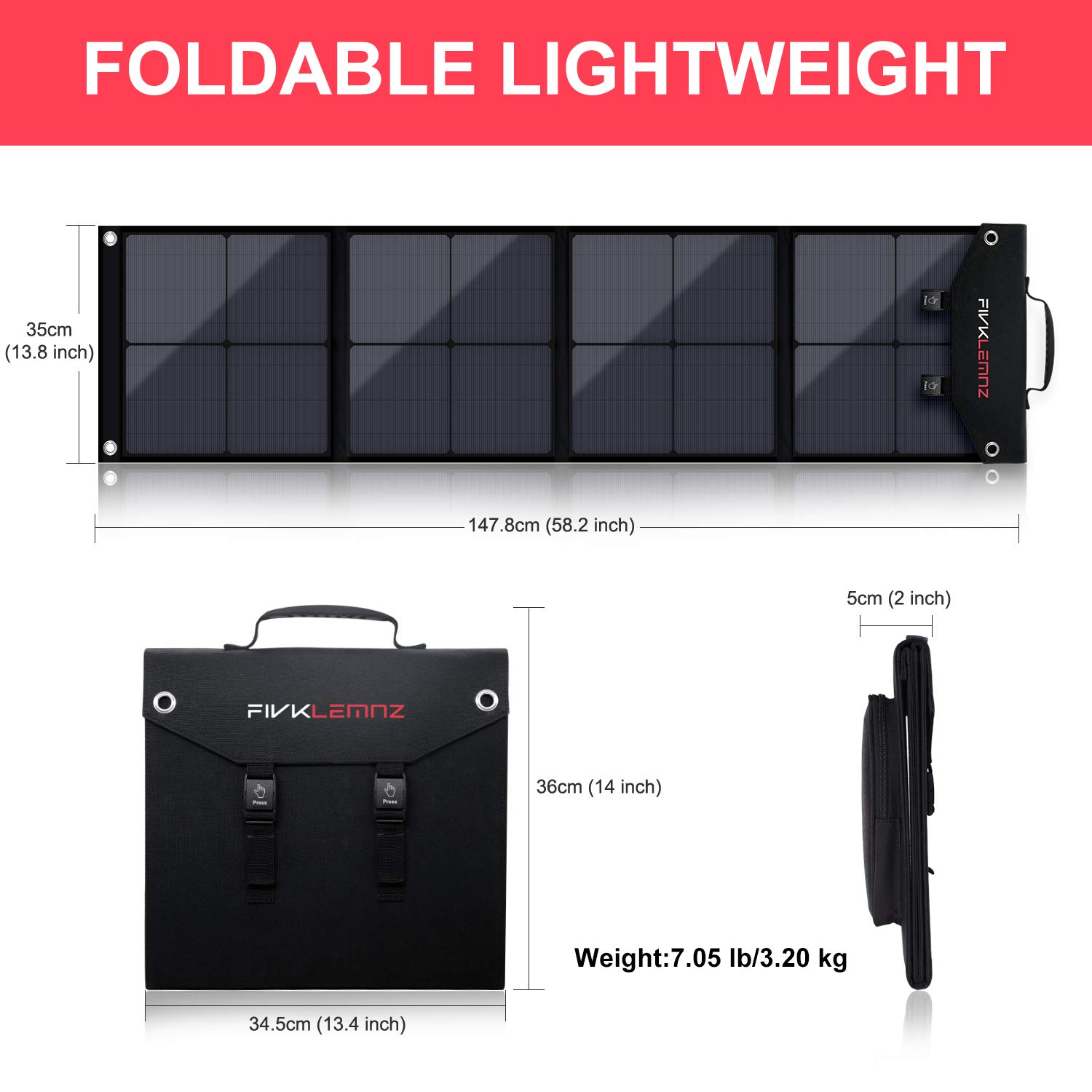 FIVKLEMNZ 60W Foldable Solar Panel Charger for Suaoki//Jackery//Enkeeo//Goal Zero Yeti//Webetop//ROCKPALS Portable Power Station Generator and QC3.0 USB Ports Laptop Tablet GPS iPhone iPad Camera