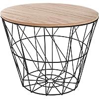 Atmosphera Table d'appoint en métal avec Couvercle en Bois 38 x 30,5 cm