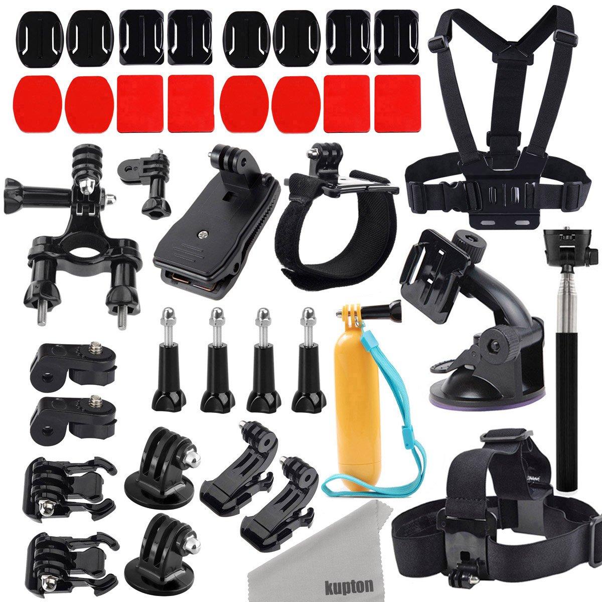 Kupton Action Camera Mount Accessories Kit for GoPro Hero 7 / Fusion/ GoPro Hero 6/5 / Session Xiaomi Yi/4K GeekPro ANART DBPOWER Lightdow ASX Action Pro Chest/Head/Wrist/Car/Bike/Floaty/Selfie Stick/Quick Clip