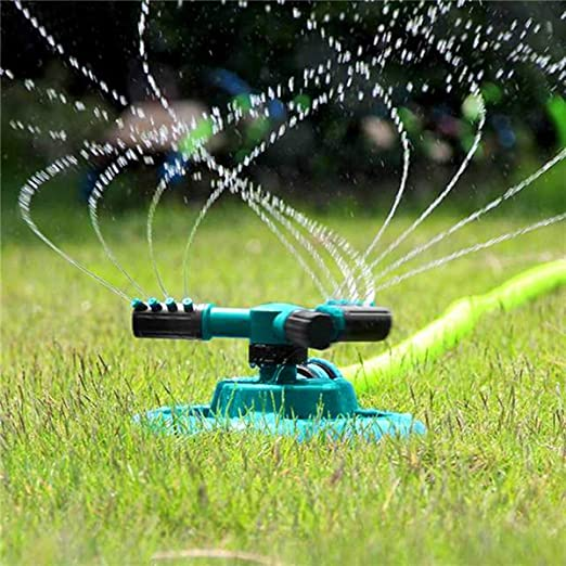 Aspersor automático para jardín, tres brazos, plástico ABS, riego de jardín y barras de hierro, riego para jardín para césped, patio, jardín: Amazon.es: Jardín