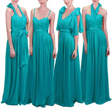 85f316c86be Women s Infinity Transformer Convertible Chiffon Long Bridesmaid Dresses  2018 Aqua