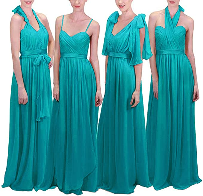 9420eadbb34 JASY Women s Infinity Transformer Convertible Chiffon Long Bridesmaid  Dresses 2018 Aqua