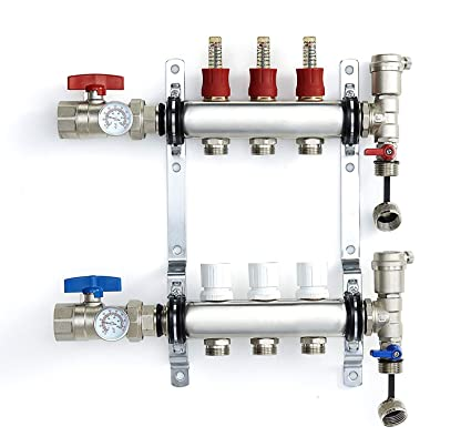 PEX Manifold Radiant Floor Heating Set 3 Loop System Stainless Steel Heated  Hydronic Heating For 1/2