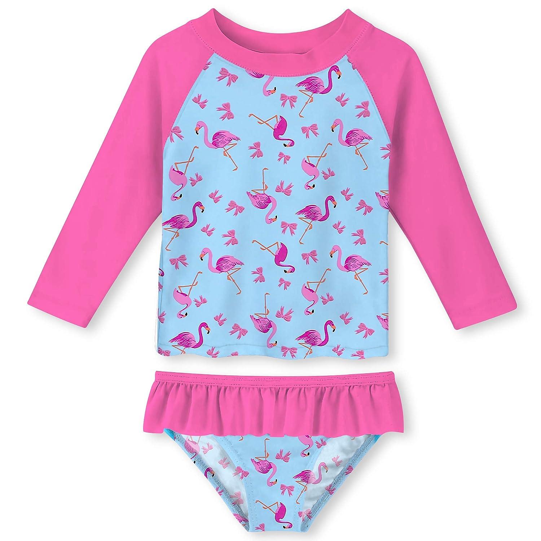 UNIFACO Toddler Girls Swimsuit Rashguard Set Summer Beach Breathable Tankini with UPF 50 Sun Protection 2-6T