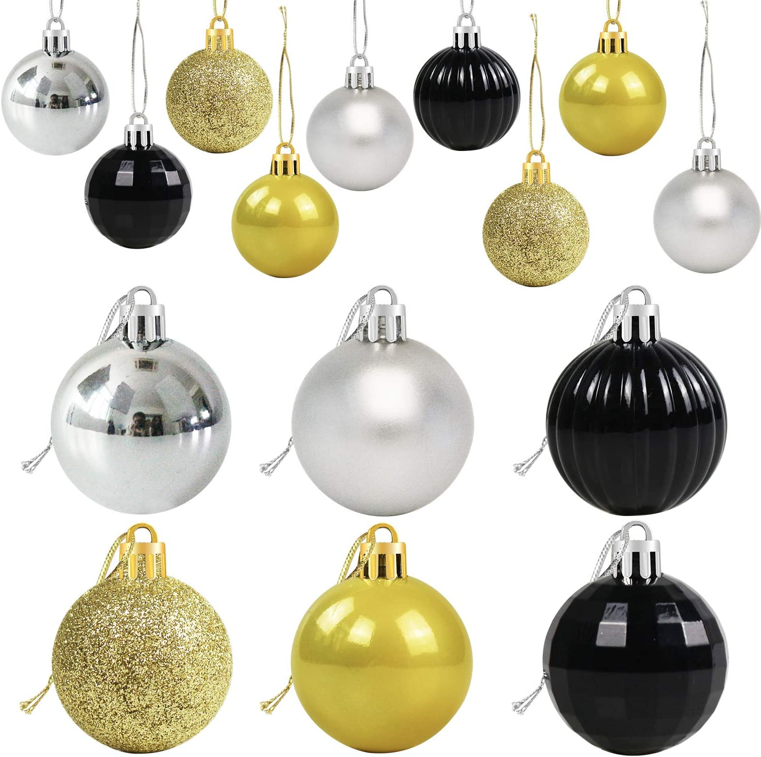 "36ct Christmas Ball Ornaments for Christmas Tree - 6 Style Christmas Tree Ornaments 1.6"" Shatterproof Hanging Ball Decorations - Xmas Holiday Party & Happy New Year Party Decorations (Black and Gold)"