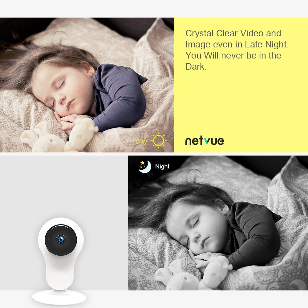 WiFi Security Camera Indoor with 2 Way Audio Night Vision NETVUE Baby Monitor 1080P Pet Camera,Compatible with Alexa Echo Show 7x24h Cloud Storage Dog Camera Motion Detection