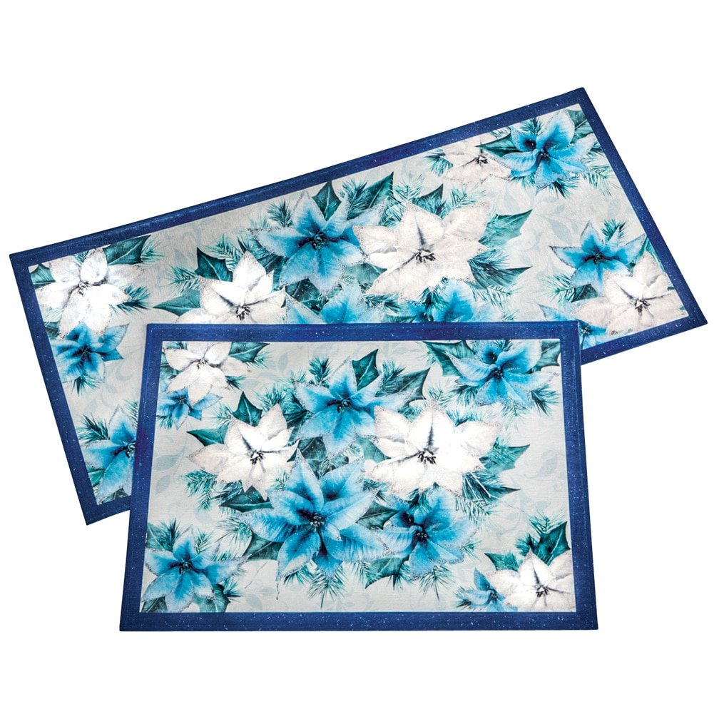 Collections Etc ICY Blue Poinsettia Elegant Christmas Rug Set