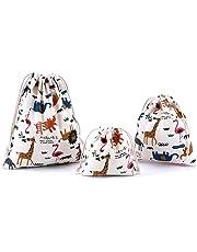 Amoyie Lot de 3 organiseurs de bagage petit, sacs-cadeaux kawaii, personnalisés avec cordon de serrage, sac de cotonnade, sac a linge sale bébé, trousses pour voyage scolaire cosmétique jouet