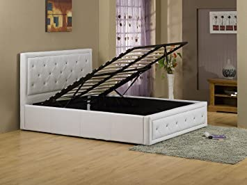 b30bc338f7cc New Hollywood Crystal 4ft6 White Double Modern Gas Lift Up Deep Storage  Ottoman Bed PU Premium