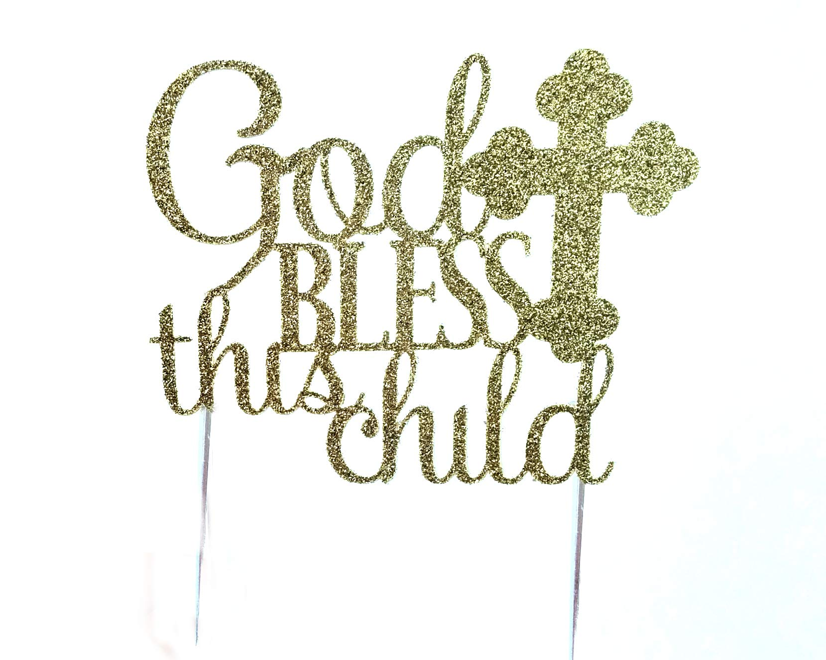 Handmade Baptism, Confirmation Cake Topper Decoration - Bless This Child - Made in USA with Double Sided Gold Glitter Stock
