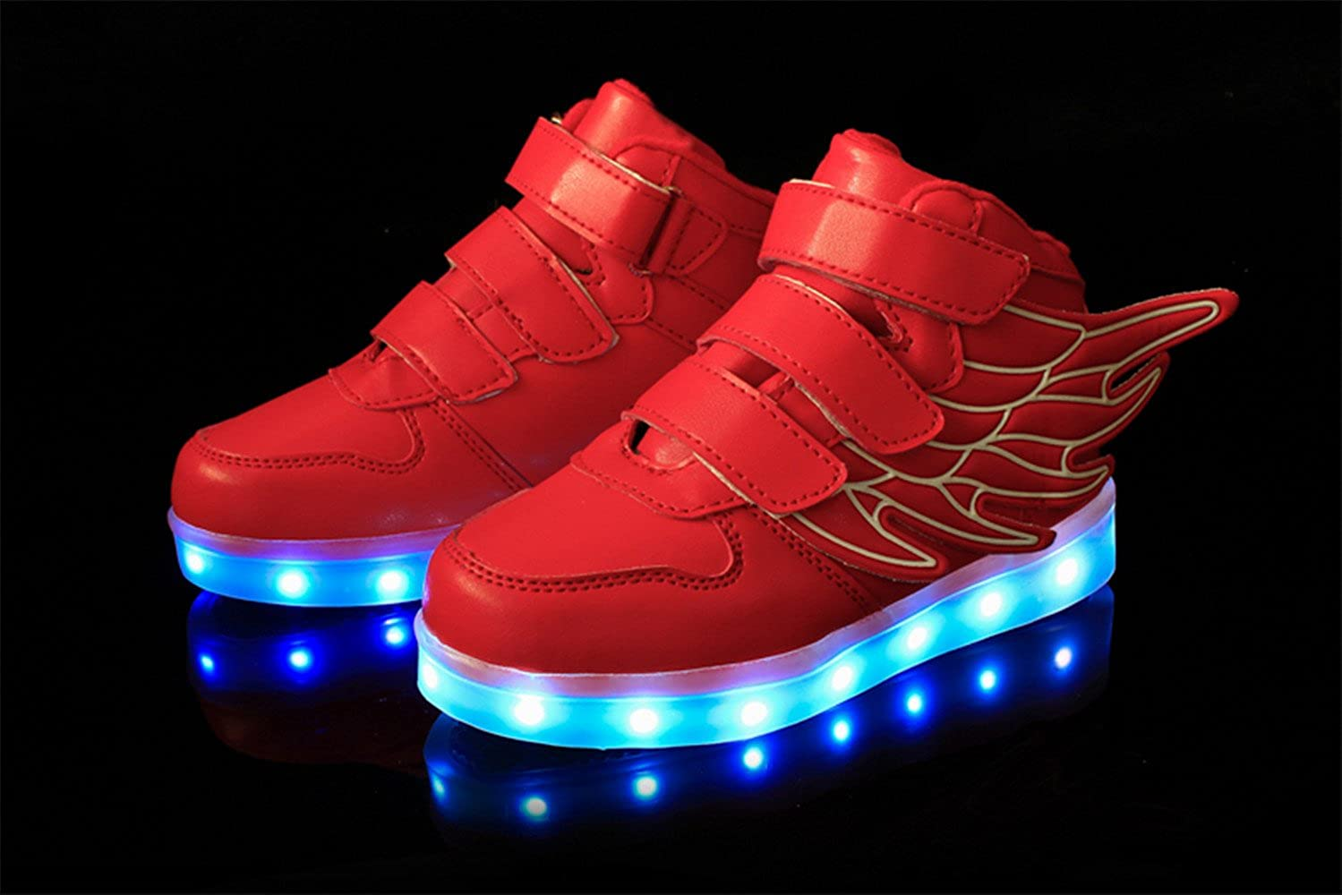 HarlanLi Kids Rechargeable 7 Colors LED light up Flashing Wing Shoes Toddler//Little Kids//Big Kids