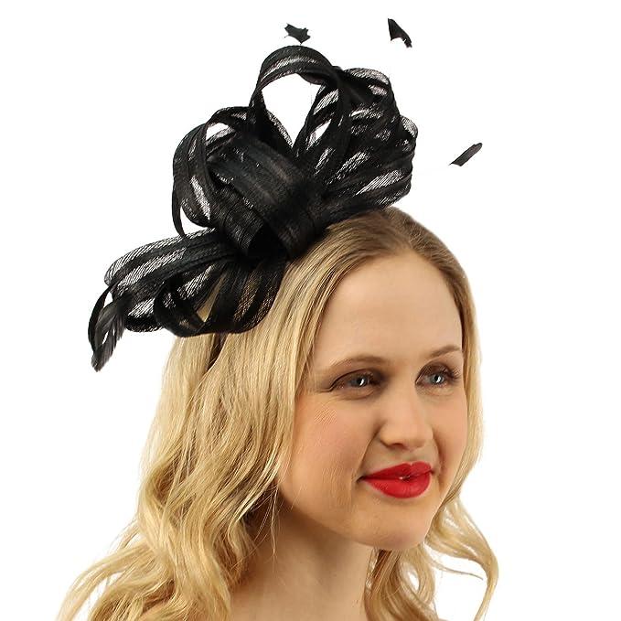 bd211977127 Sinamay Ribbon Feathers Fascinators Headband Millinery Cocktail Derby Hat  Black