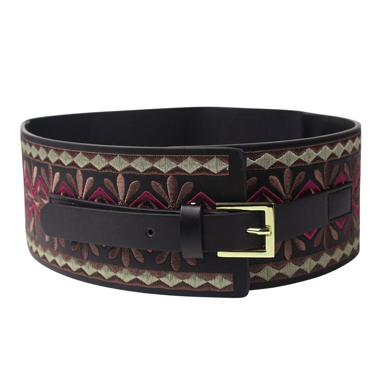 Fioretto Valentine's Day Gift - Renaissance Fair Women's Wide Embroidered Genuine Cowhide Leather Belt - DeluxeAdultCostumes.com