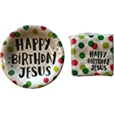 Happy Birthday Jesus Party Bundle for Up to 40 Guests - 2 Items - Dessert Plates and Beverage Napkins