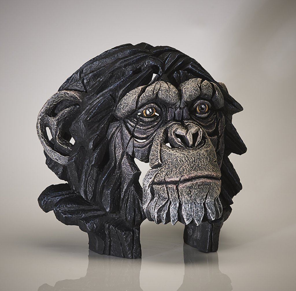 Chimpanzee Bust by Edge Sculpture Robert Harrop