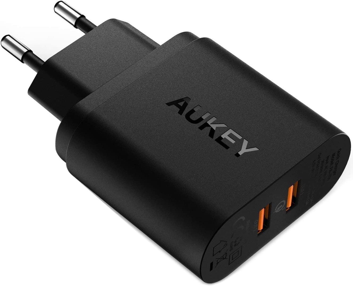 AUKEY Quick Charge 3.0 Cargador de Pared 39W Dual Puerto Cargador Móvil para Samsung Galaxy S8 / S8+/ Note 8, iPhone XS / XS Max / XR, iPad Pro / Air, HTC 10, LG G5 / G6 y más