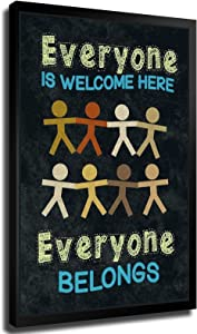 Everyone Is Welcome Here Everyone Belongs Classroom Sign Educational Rules Teacher Supplies School Decor Teaching Toddler Kids Elementary Learning Decorations Poster Picture Art Print Canvas Wall Art Home Living Room Bedroom Decor Mural (8×12inch-No Framed)
