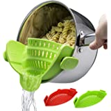 Snap Strainer, 2 PACK Silicone Food Strainers Heat Resistant Clip On Strain Strainer Rice Colander Kitchen Gadgets Drainer Ha