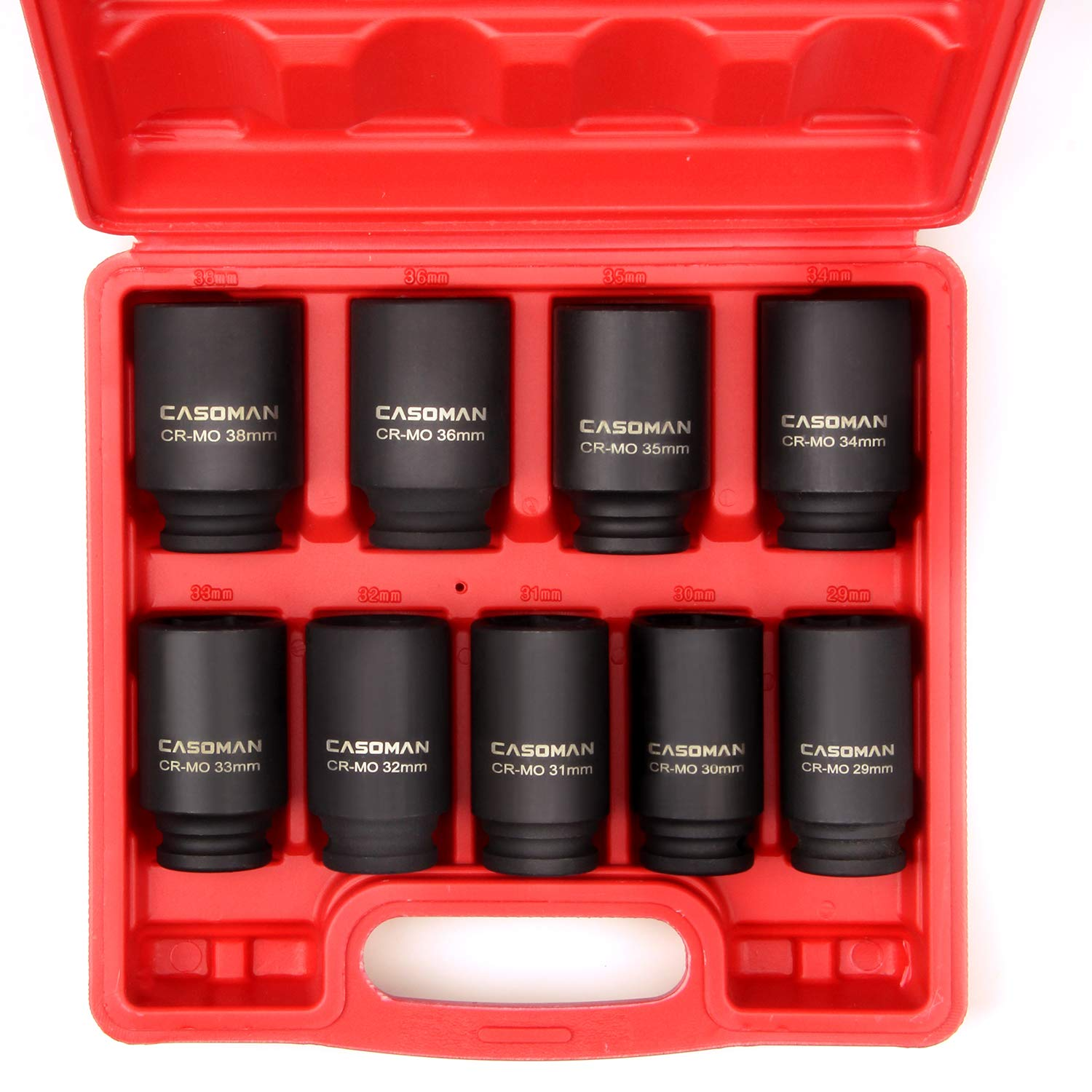 CASOMAN 1/2- Inch Drive Deep Spindle Axle Nut Impact Socket Set, 6 Point, CR-MO, Metric, 29mm-38mm, 9-Piece 1/2'' Dr. Deep Impact Socket Set by CASOMAN