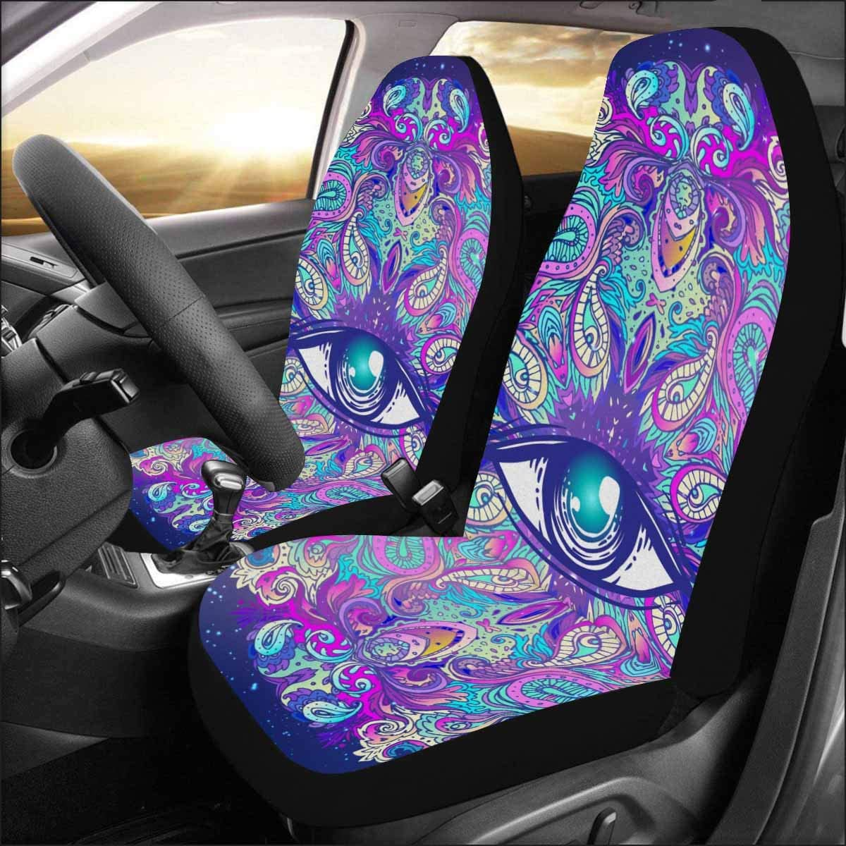 INTERESTPRINT Mandalas Front Seat Covers 2 pc, Entire Seat Protection, Car Front Seat Cushion for Pets Running Gym