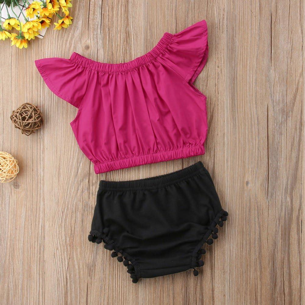 Infant Baby Girl Off Shoulder Fly Sleeve Top+Tassel Short Outfit Set