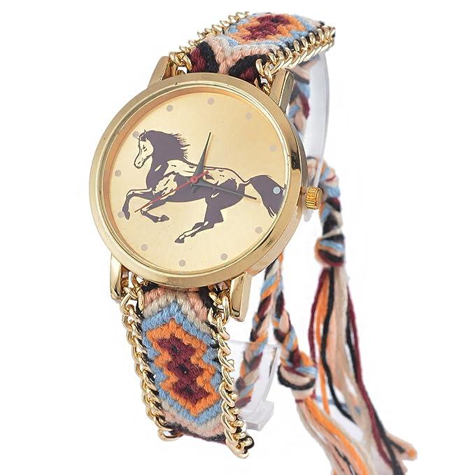 Amazon.com: Souarts Womens Velvet Adjustable Weave Bracelet Round Wrist Watch (Peacock Feather): Watches