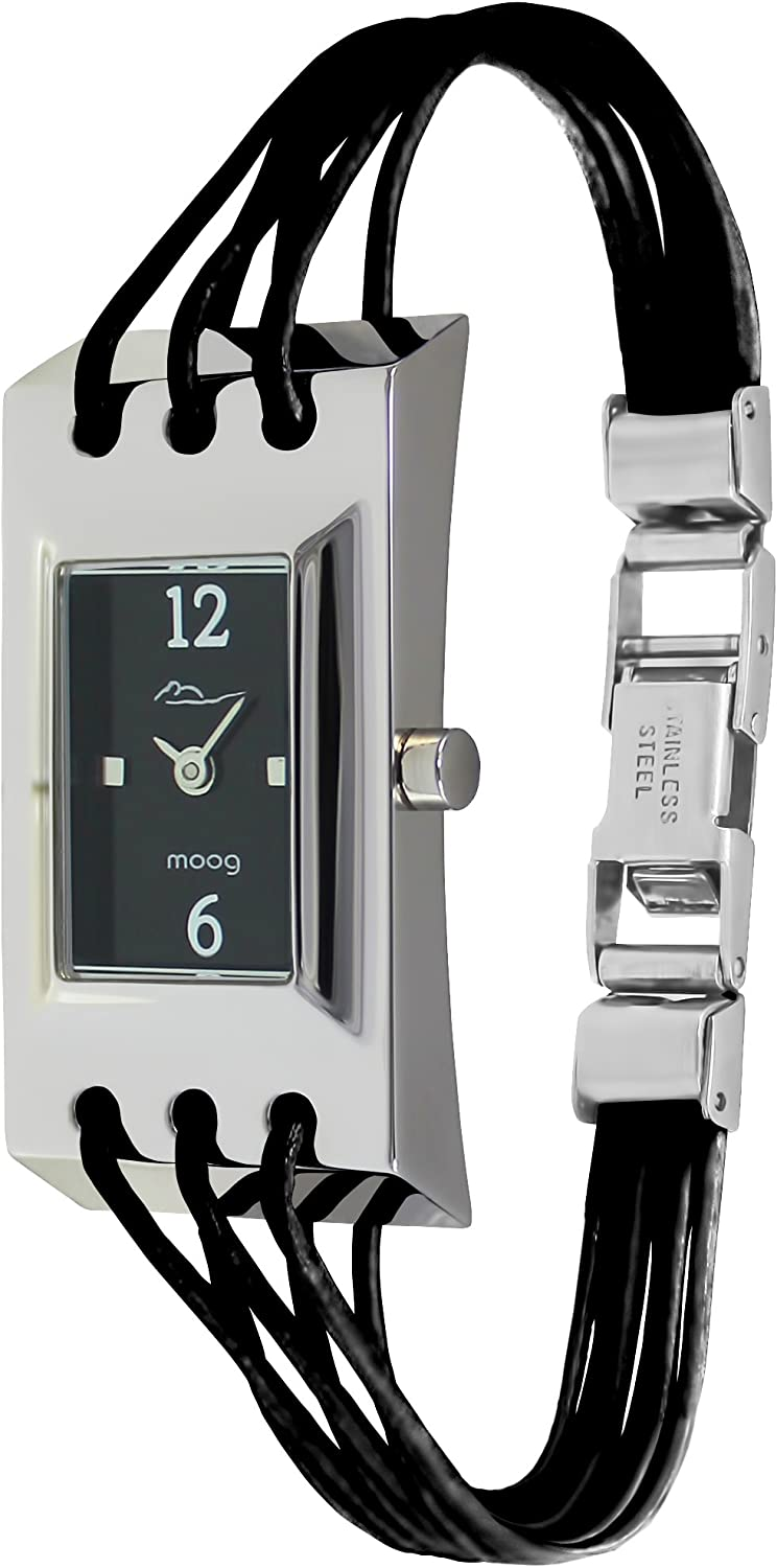 Moog Paris Filament Women s Watch with Black Silver White Dial, Black Blue Pink White Strap in Genuine Leather