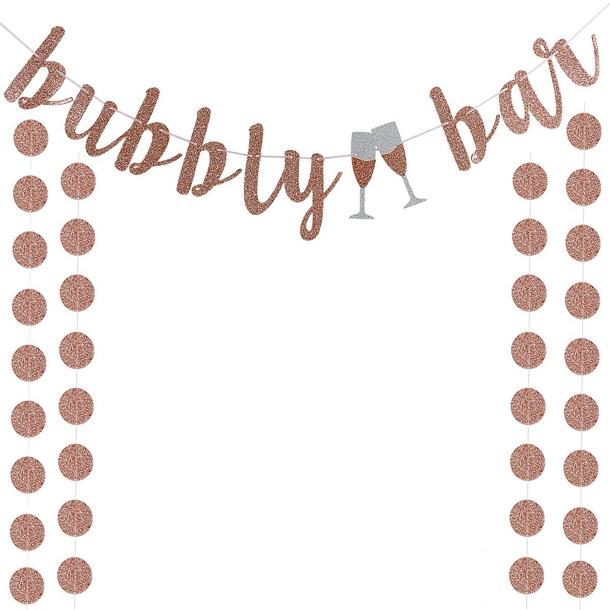 Rose Gold Glitter Bubbly Bar Banner and Rose Gold Paper Cicle Dots Banner,For Bachelorette,Bridal Shower,Engagement,Wedding Party Supplies
