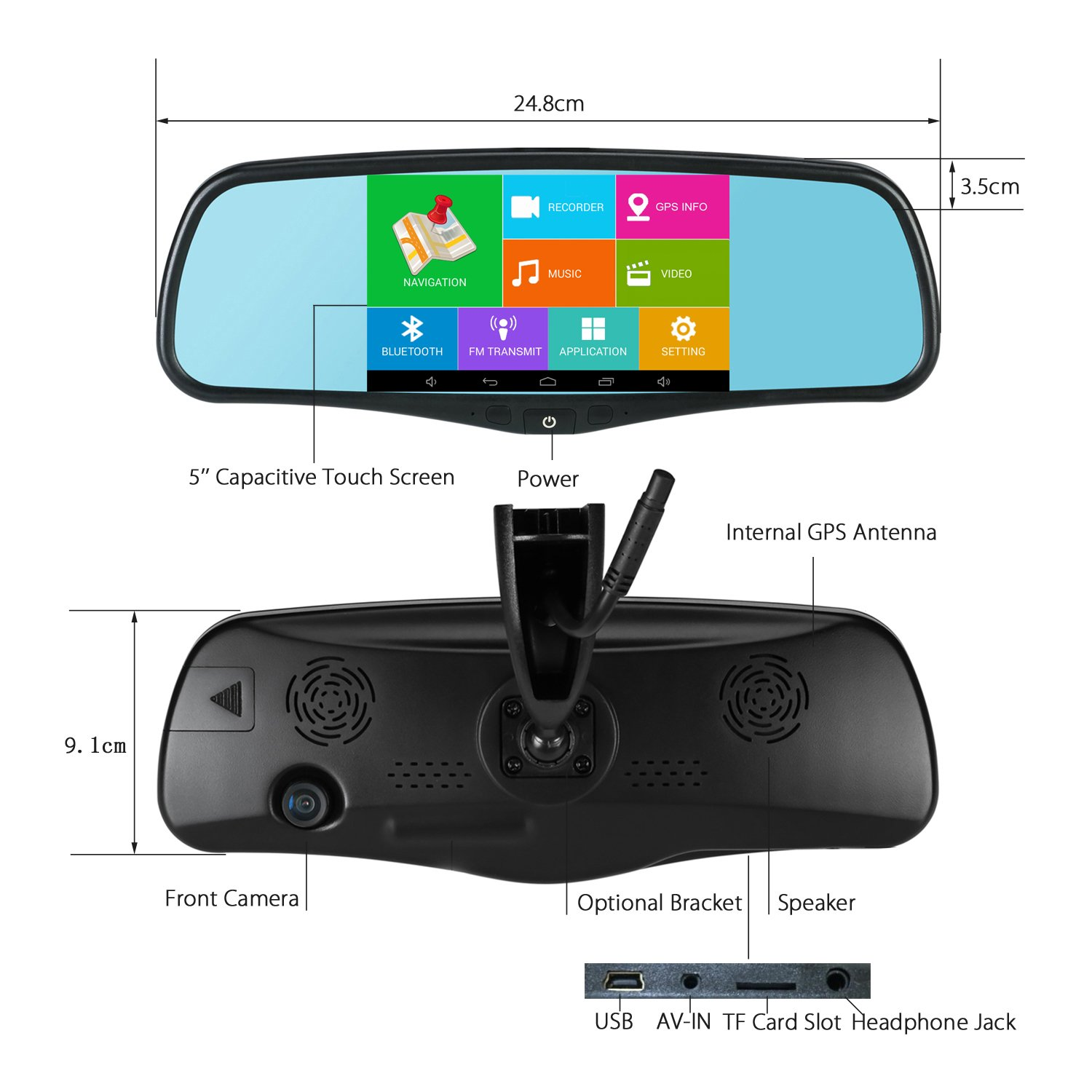 Amazon.com: SmarTure 5\'\' Smart Android Rear View Mirror with GPS ...