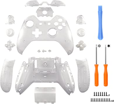eXtremeRate Conjunto Completo de Carcasa Funda Cubierta Protectora Kit de Botones de reemplazo y Destornilladores para Mando de Xbox One Original con Conector para Auriculares de 3,5 mm Transparente: Amazon.es: Electrónica
