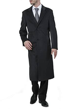 9fe3b7a1b Men's Single Breasted Luxury Wool Cashmere Full Length Topcoat